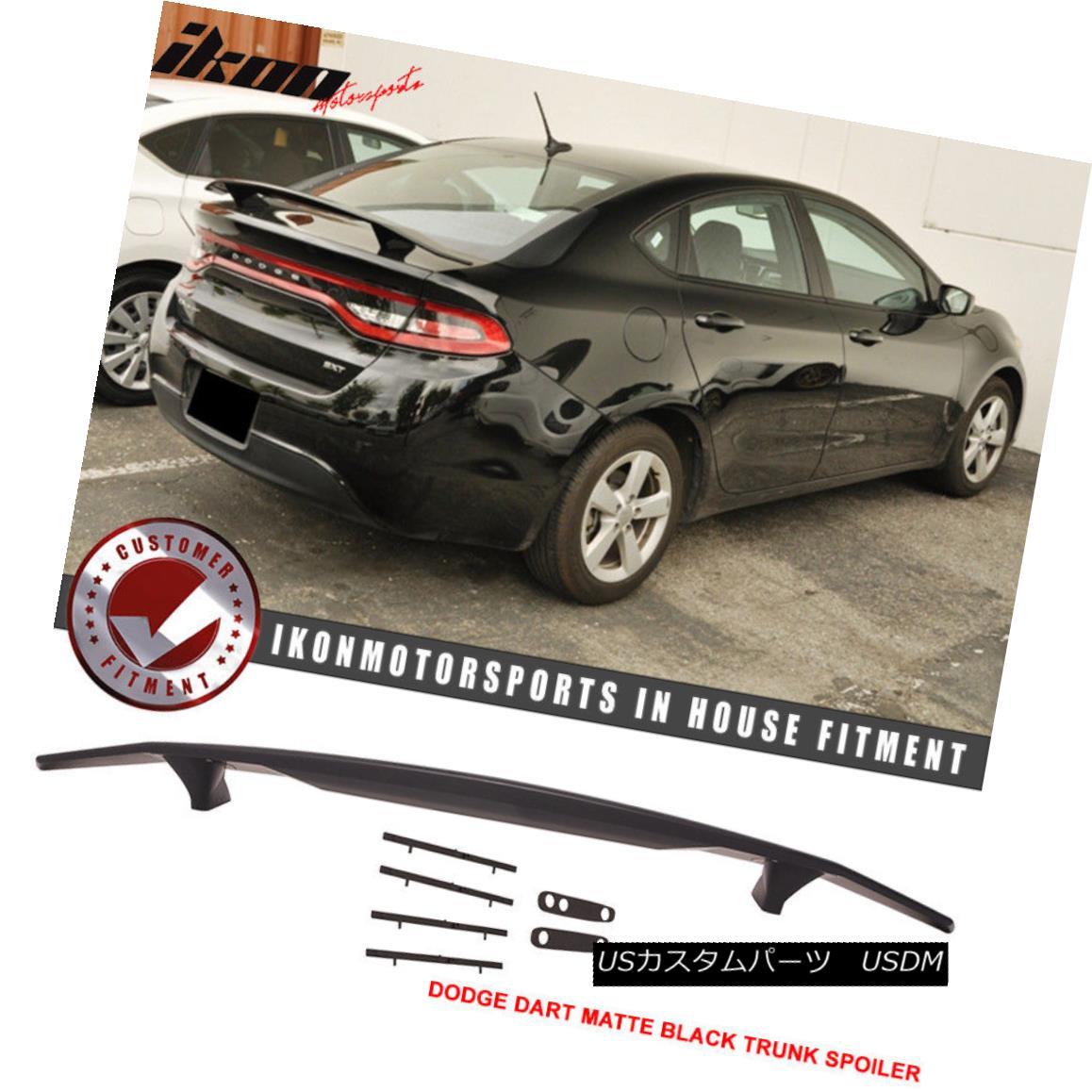 エアロパーツ Fits 13-16 Dodge Dart Matte Black Trunk Spoiler Wing - ABS フィット13-16ダッジダートマットブラックトランクスポイラーウィング - ABS