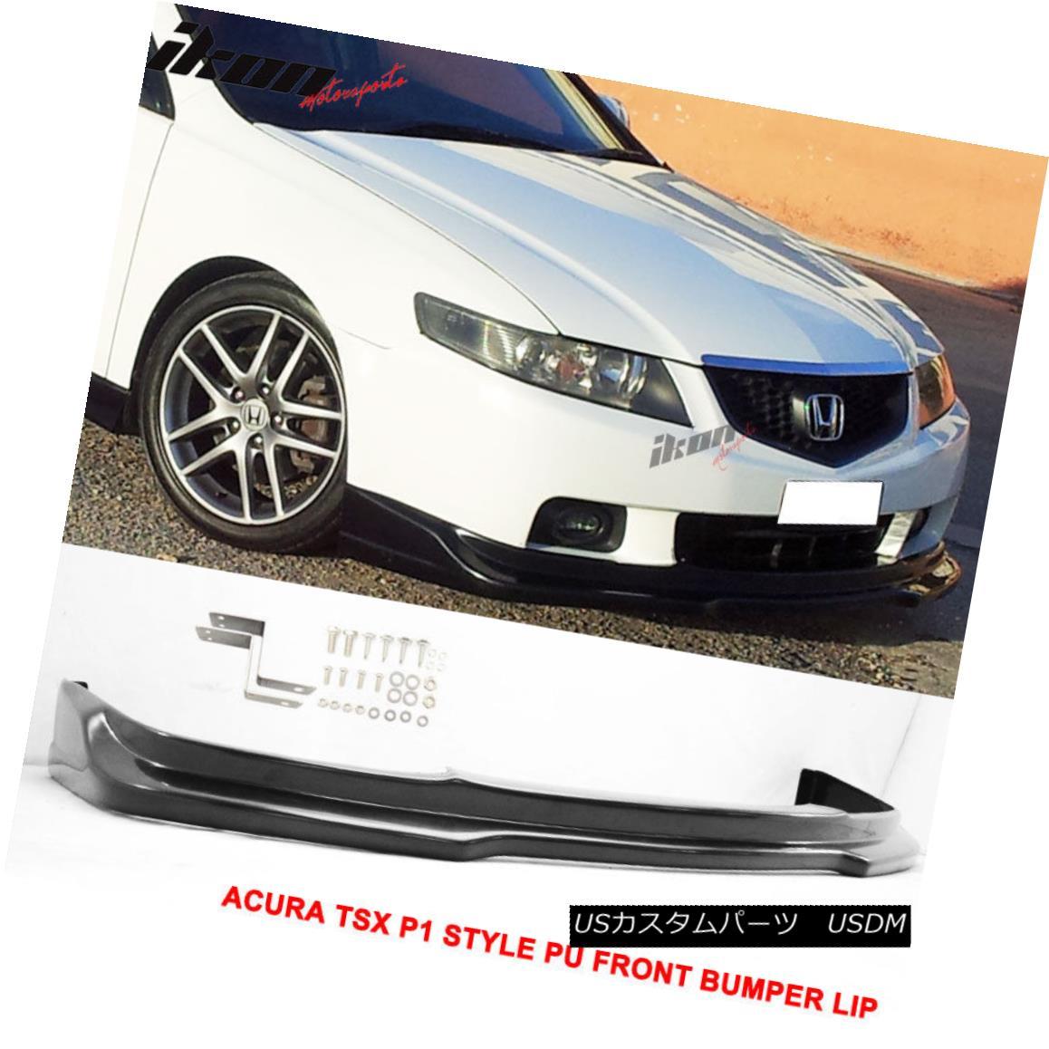 Fits 09-10 Acura TSX CU1 JDM Style Front Bumper Lip Spoiler Body Kit Black PU