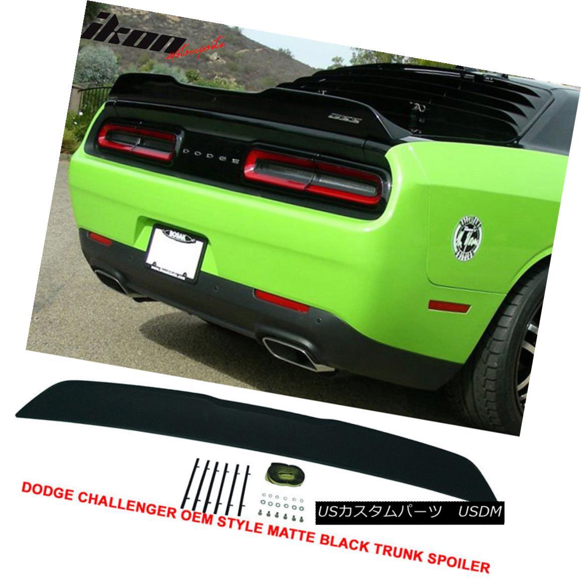 エアロパーツ Fits 15-17 Dodge Challenger Rear ABS Trunk Spoiler Primered Matte Black Finish フィット15-17ドッジチャレンジャーリアABSトランクスポイラープライマーマットブラックフィニッシュ