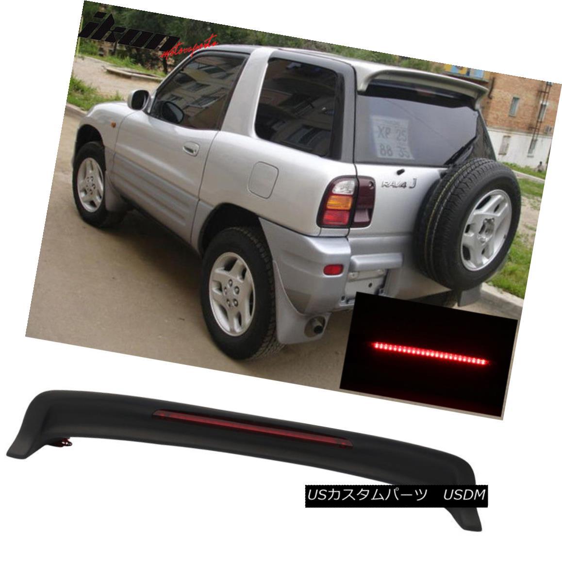 エアロパーツ Fits 94-00 RAV4 OE Factory Style Roof Spoiler ABS & LED Light Matte Black ABS フィット94-00 RAV4 OEファクトリースタイルルーフスポイラーABS& LEDライトマットブラックABS