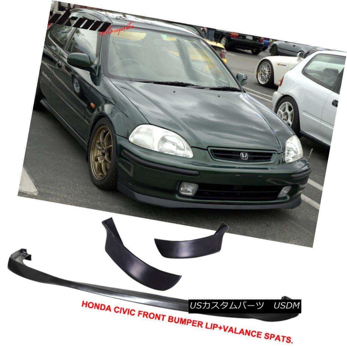 エアロパーツ Fits 96-98 Civic 3Dr SIR PU Front Bumper Lip +2PC Rear Bumper Lip Valance Spats フィット96-98シビック3Dr SIR PUフロントバンパーリップ+ 2PCリアバンパーリップバランススパッツ