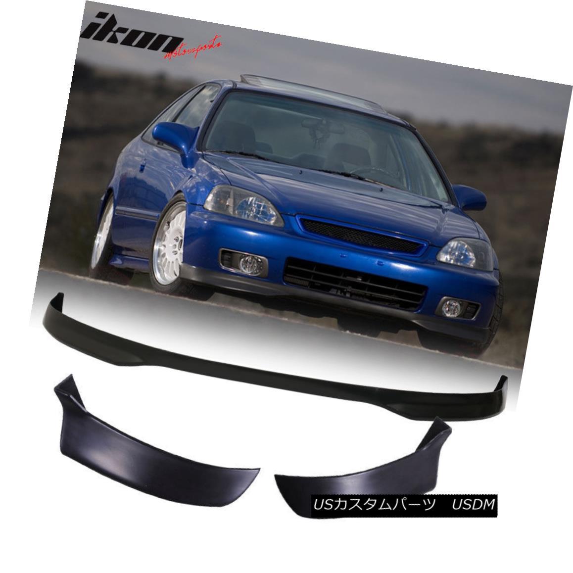 エアロパーツ Fits 96-98 Civic 3D T-R PP Front Bumper Lip+2PC Rear Lip Valance Spats Body Kit フィット96-98 Civic 3D T-R PPフロントバンパーリップ+ 2PCリアリップバランススボディキット