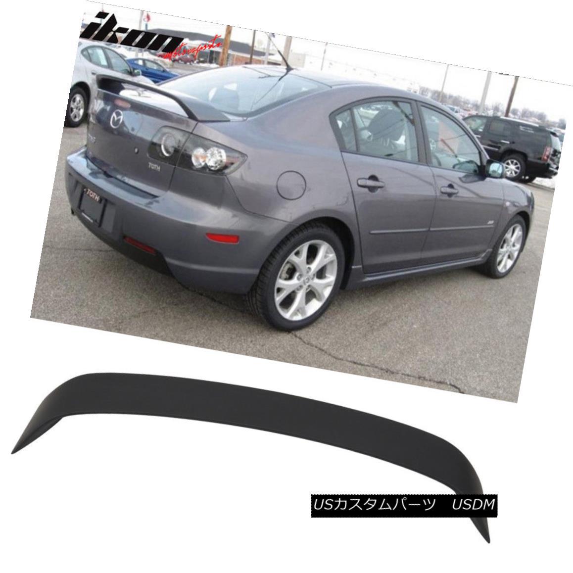 エアロパーツ Fits 03-09 Mazda 3 Mazda3 4Door Sedan Trunk Spoiler Wing Primer Matte Black ABS フィット03-09マツダ3マツダ3 4DoorセダントランクスポイラーウイングプライマーマットブラックABS