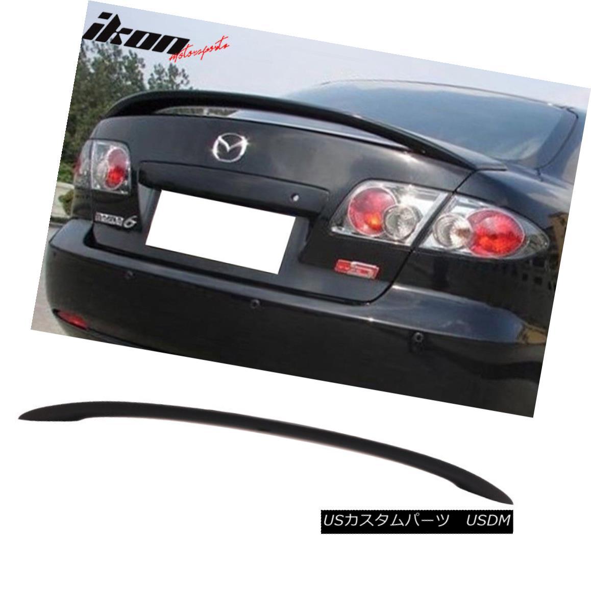 エアロパーツ Matte Black Fits 03-08 Mazda 6 Mazda6 4Dr Sedan Flush Mount OE Trunk Spoiler-ABS マットブラックフィット03-08マツダ6マツダ6 4DrセダンフラッシュマウントOEトランクスポイラーABS
