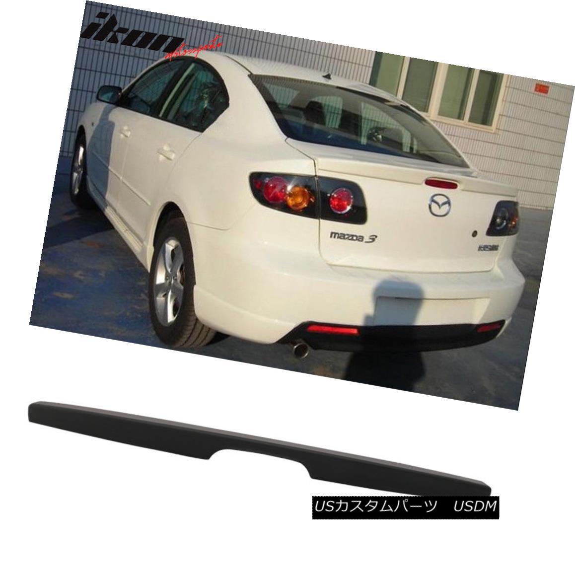 エアロパーツ For 04-09 Mazda 3 4Dr Sedan Flush Mount OE Factory Trunk Spoiler-Matte Black ABS 04-09マツダ3 4DrセダンフラッシュマウントOE工場トランクスポイラー - マットブラックABS