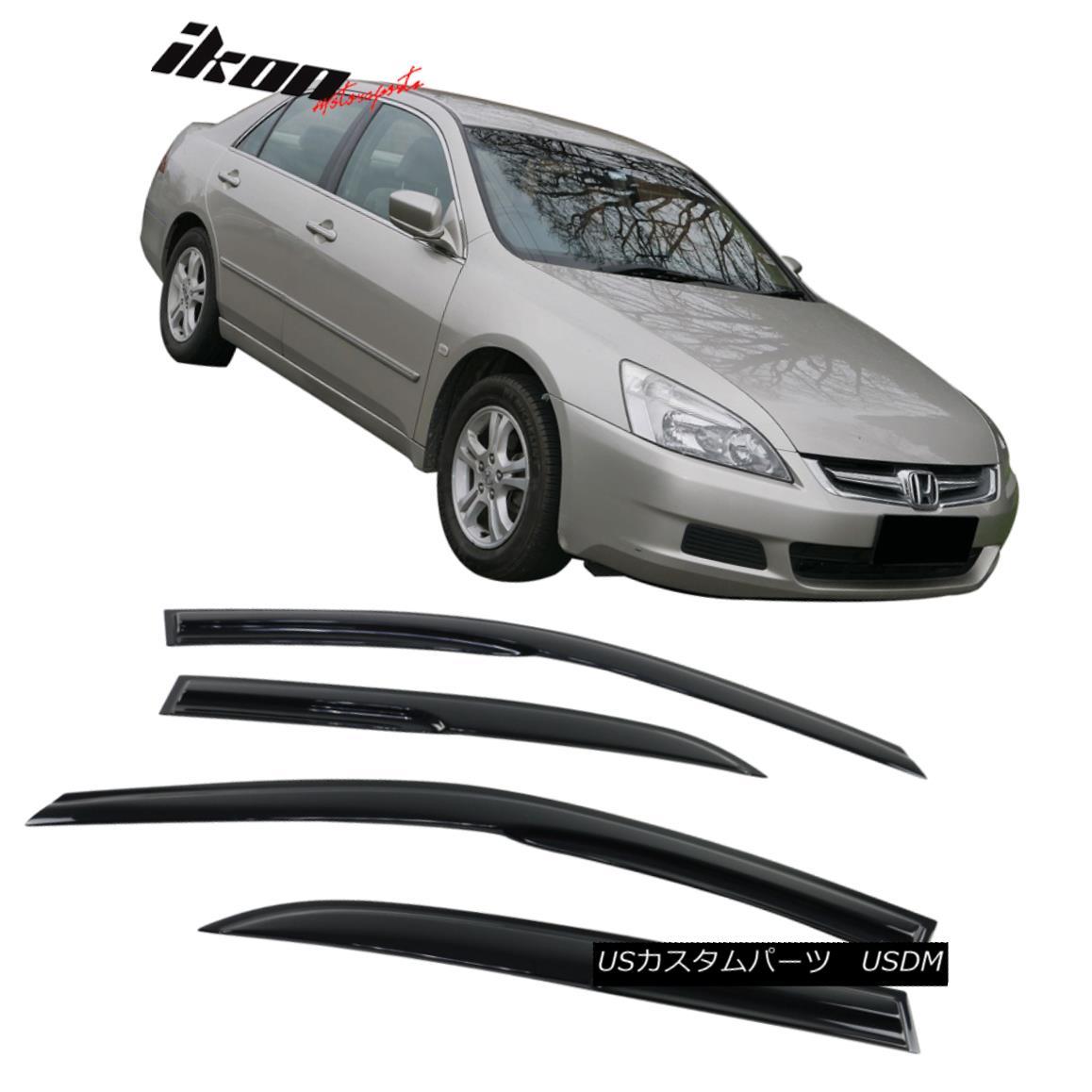 【在庫有】 エアロパーツ Fits 03-07 Honda Accord Sedan Mugen Style Acrylic Window Visors 4Pc Set フィット03-07ホンダアコードセダンムゲンスタイルアクリル窓バイザー4個セット, キイナガシマチョウ cfa09fd7
