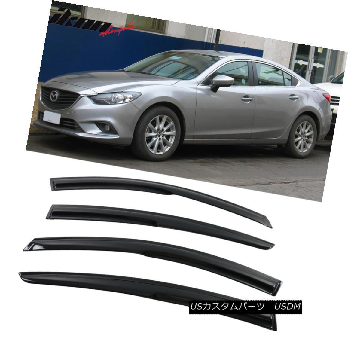【オンライン限定商品】 エアロパーツ Fits 14-17 Mazda 6 Sedan Mugen Style Acrylic Window Visors 4Pc Set フィット14-17マツダ6セダンムゲンスタイルアクリルウィンドウバイザー4PCセット, 立川町 431d842d