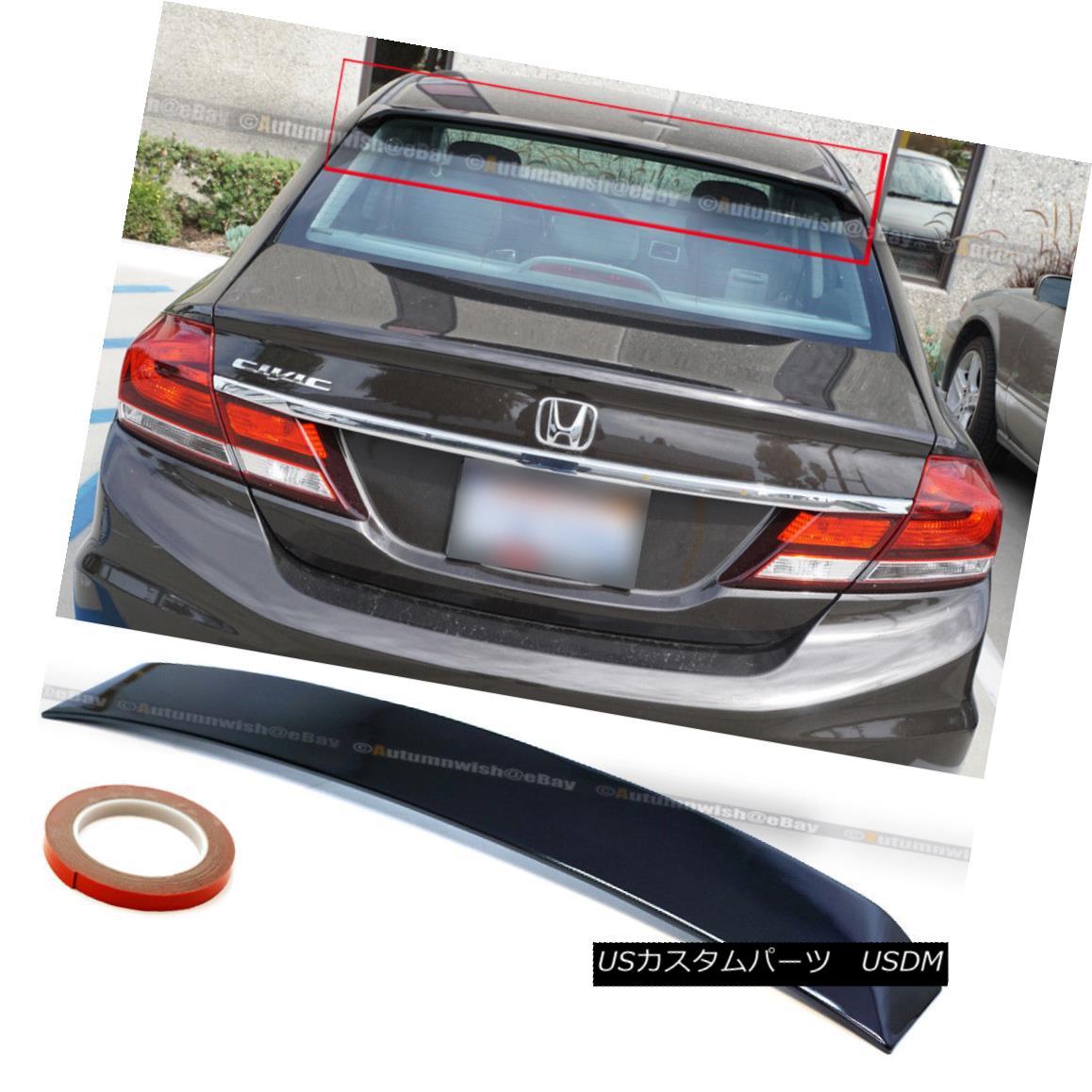 エアロパーツ For 06-15 Civic 4DR Painted Glossy Black ABS Rear Window Roof Wing Spoiler Visor 06-15シビック4DR塗装光沢ブラックABSリアウィンドウルーフウイングスポイラーバイザー