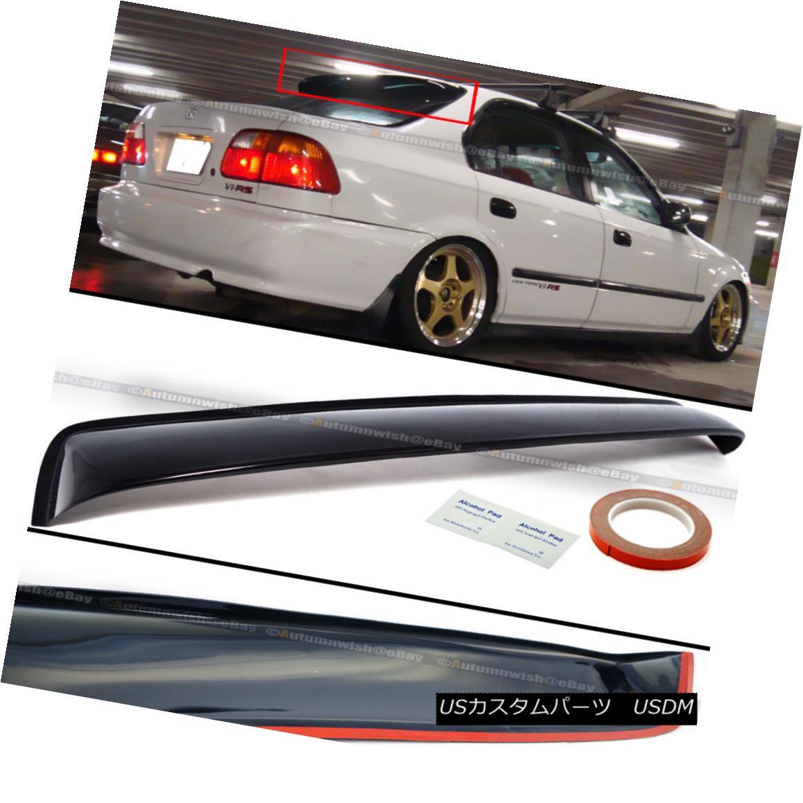 エアロパーツ For 96-98 Civic 4DR Sedan Black Tinted Rear Roof Window Shade Visor Spoiler 96-98シビック4DRセダンブラックティンテッドリアルーフウィンドウシェードバイザースポイラー