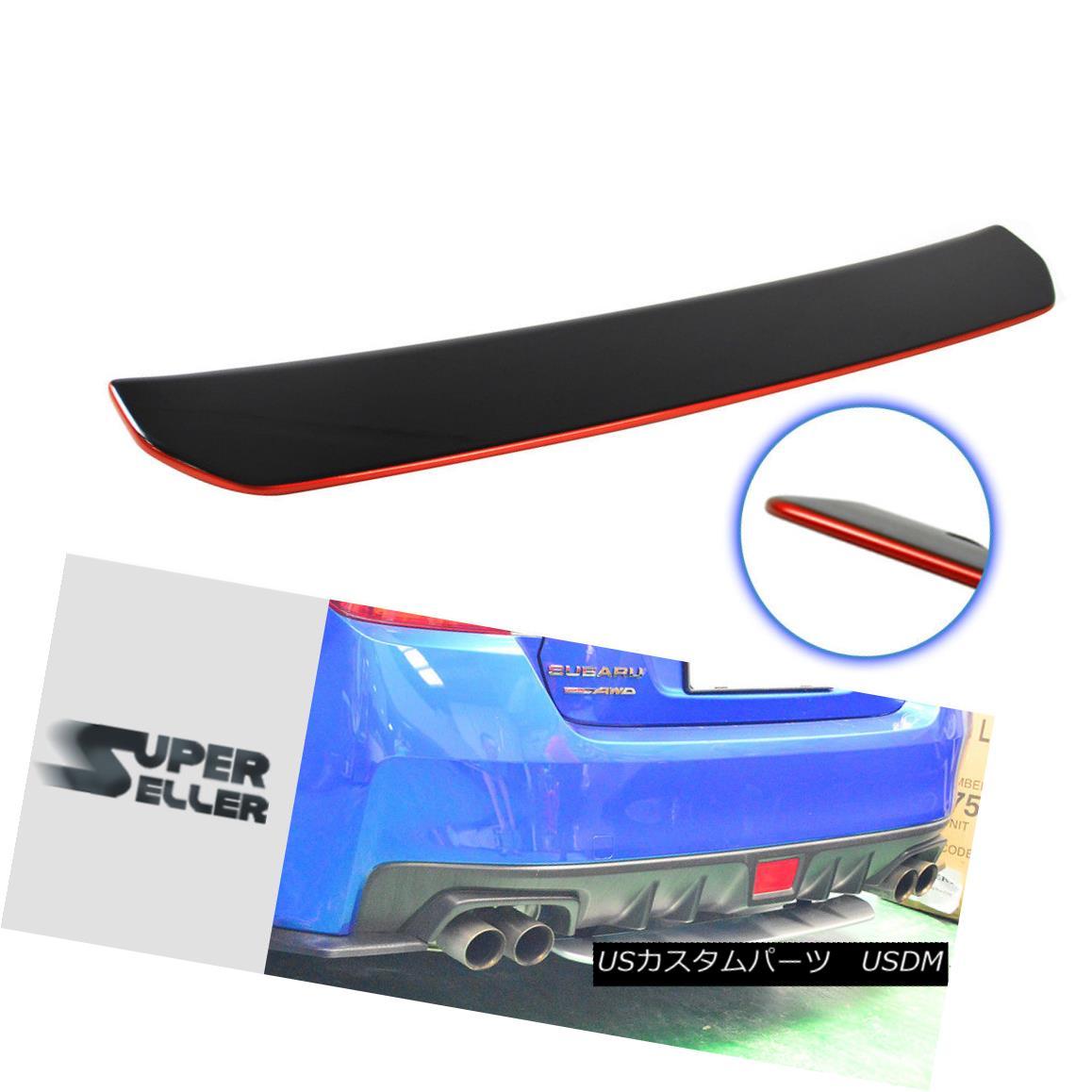エアロパーツ Rear Diffuser Spoiler Wing Painted & Red Line For Subaru WRX 4th STI 4DR リアディフューザースポイラーウイングペイント& レッドライン、スバルWRX 4th STI 4DR