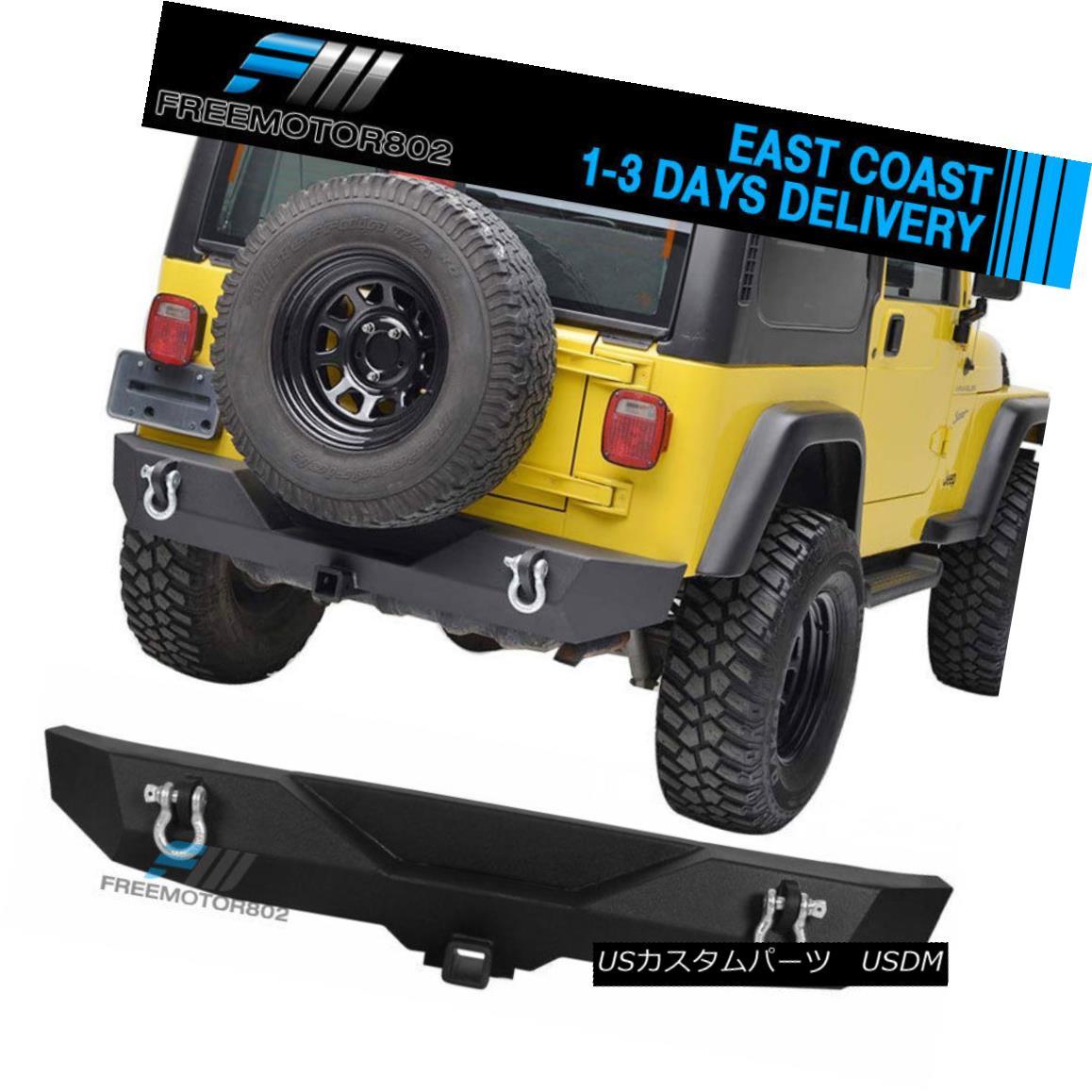 エアロパーツ Fits 87-06 Jeep Wrangler TJ YJ Black Textured Rear Bumper -B1 Guard Kits フィット87-06ジープラングラーTJ YJブラックテクスチャーリアバンパー-B1ガードキット