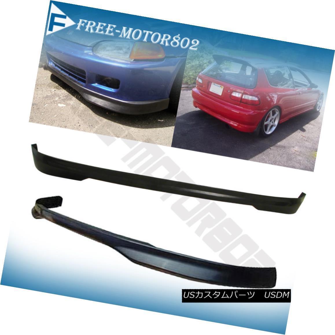 エアロパーツ For 92-95 Honda Civic EG 3DR Type R Front + Rear Bumper Lip Spoiler Bodykit PU 92-95ホンダシビックEG 3DRタイプRフロント+リアバンパーリップスポイラーボディキットPU