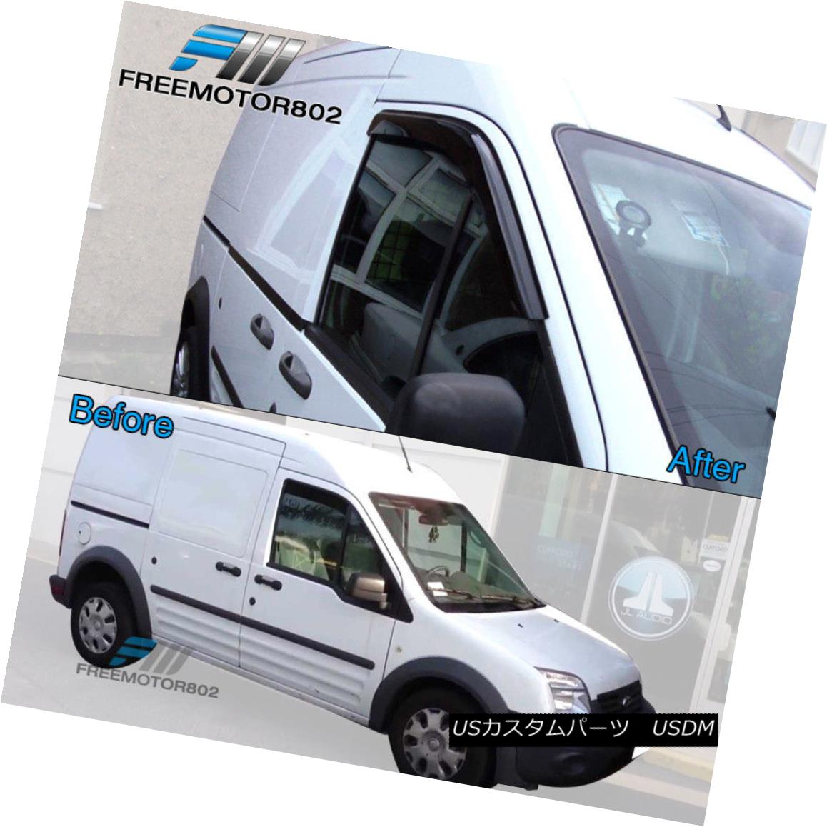 Fits 10-13 Ford Transit Slim Style Acrylic Window Visors 2Pc Set
