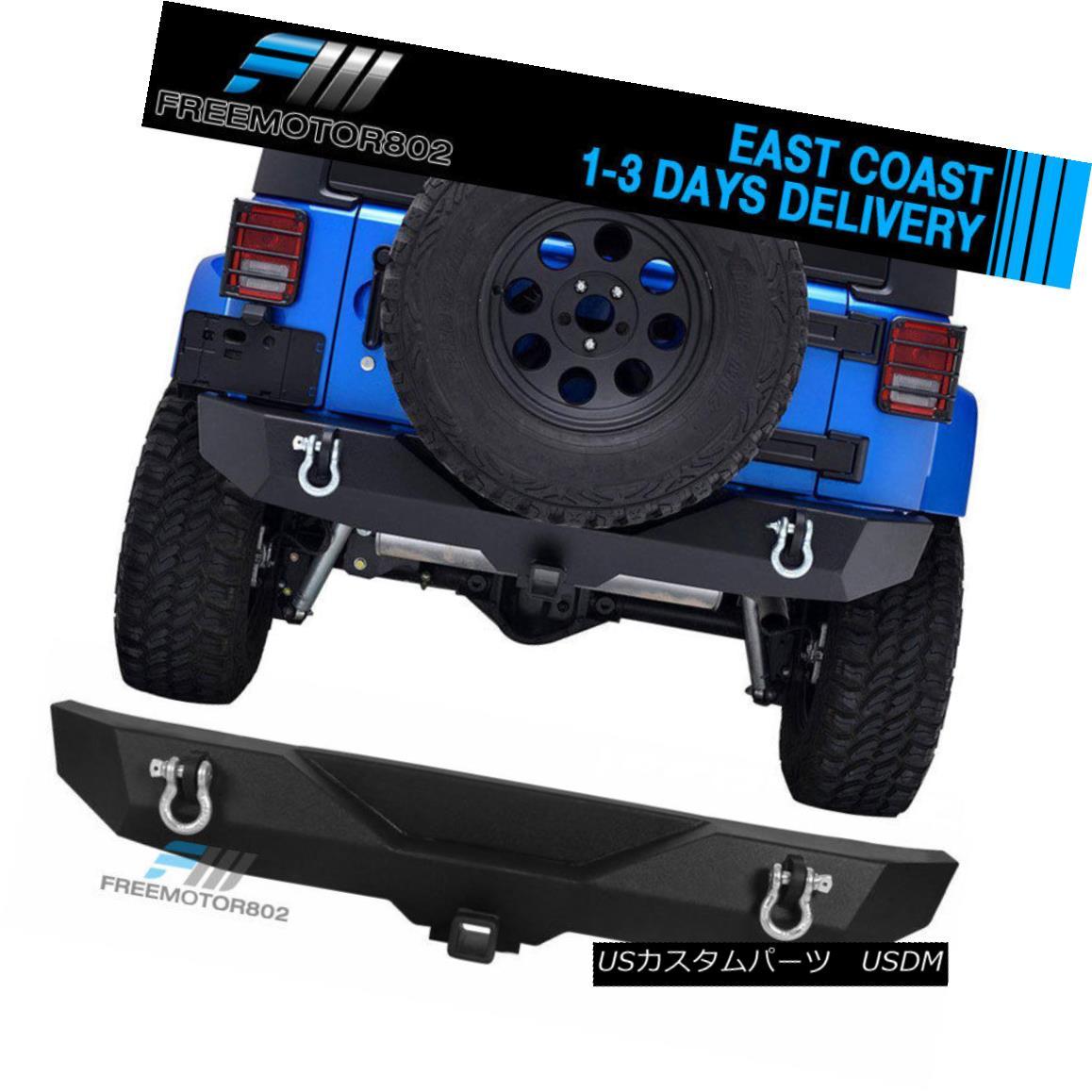 エアロパーツ Fits 07-18 Jeep Wrangler Black Textured Rear Bumper -C1 Guard Kits フィット07-18ジープラングラーブラックテクスチャリアバンパー-C1ガードキット