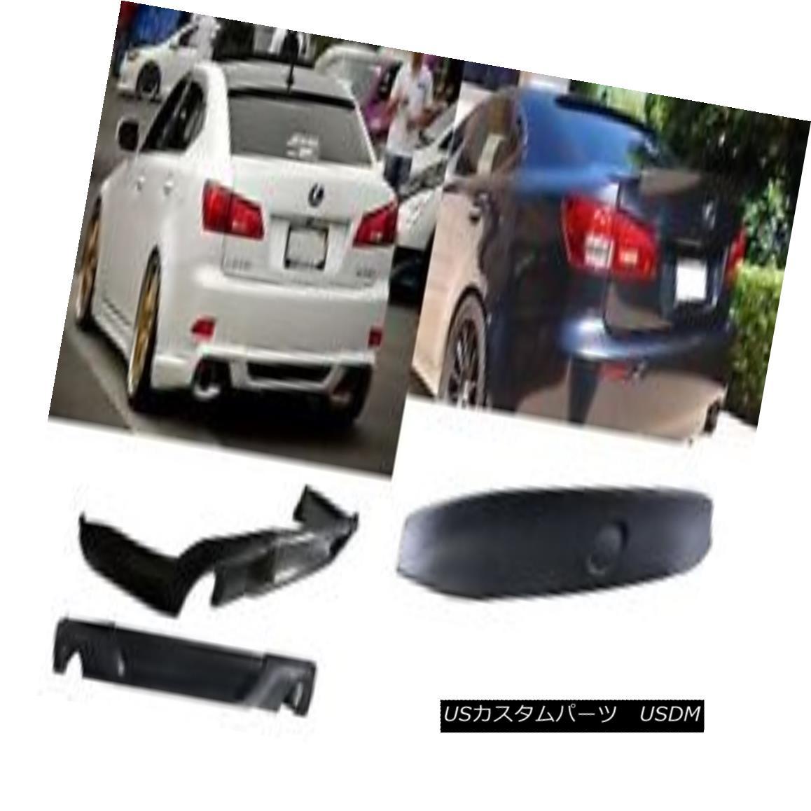 エアロパーツ 06-12 Lexus IS250 350 Black PU Rear Trunk Spoiler Bumper Lip DIFFUSER Body kit 06-12レクサスIS250 350ブラックPUリアトランクスポイラーバンパーリップDIFFUSERボディキット