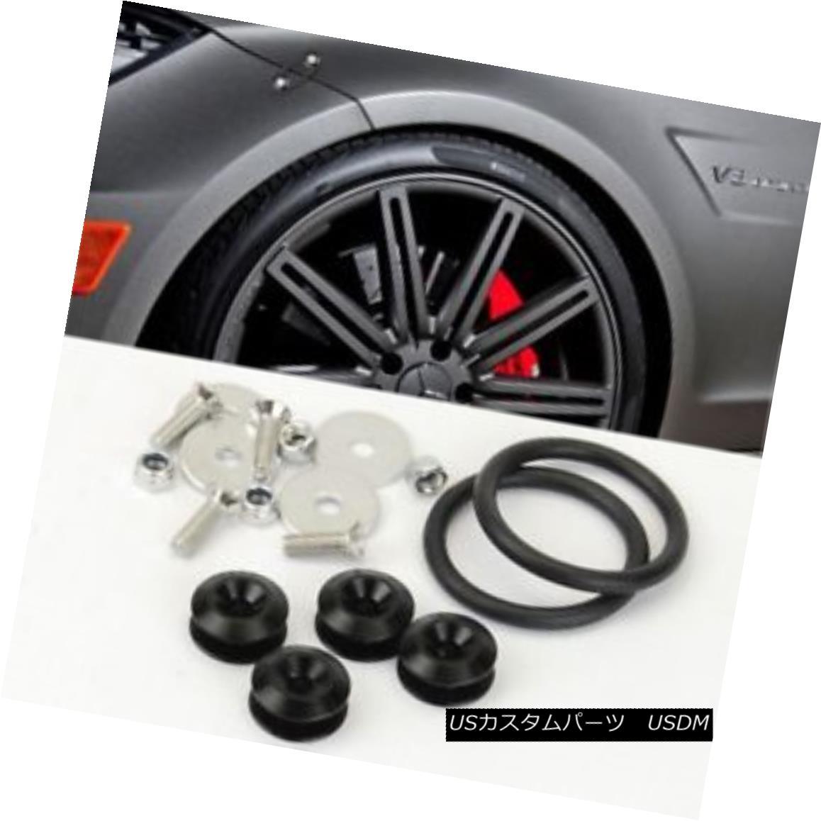 エアロパーツ Black Bolt on Fast Quick Release Secure Kit For FORD Front Rear Bumper Lip ブラッククイックリリースクイックリリースフォードフロントリアバンパーリップ用セキュアキット