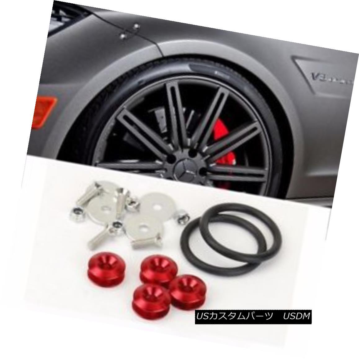 エアロパーツ Red Bolt on Fast Quick Release Secure Kit For Subaru Front Rear Bumper Lip 赤いボルトは速いクイックリリースでスバルフロントリヤバンパーリップ用の安全なキット