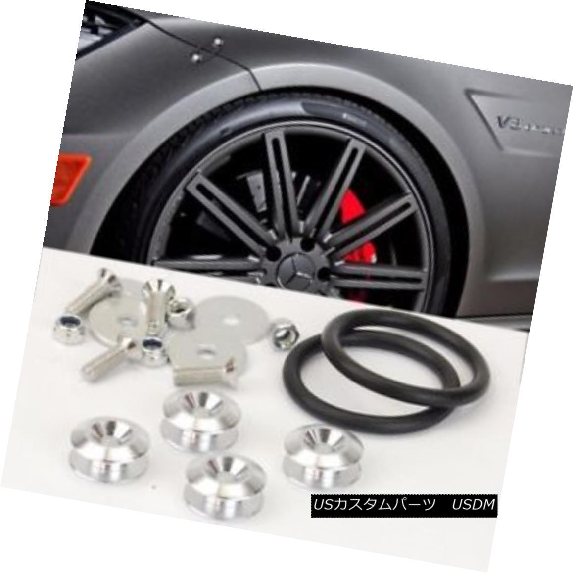 エアロパーツ Universal Silver Bolt on Fast Quick Release Secure Kit For Front Rear Bumper Lip ユニバーサルシルバーボルト、ファストクイックリリース、フロントリアバンパーリップ