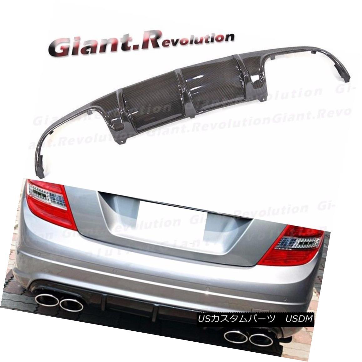 エアロパーツ C63AMG Type Carbon Fiber Bumper Diffuser Fit 08-11 BENZ W204 C300 C350 Sedan 4DR C63AMGタイプカーボンファイバーバンパーディフューザーフィット08-11ベンツW204 C300 C350セダン4DR