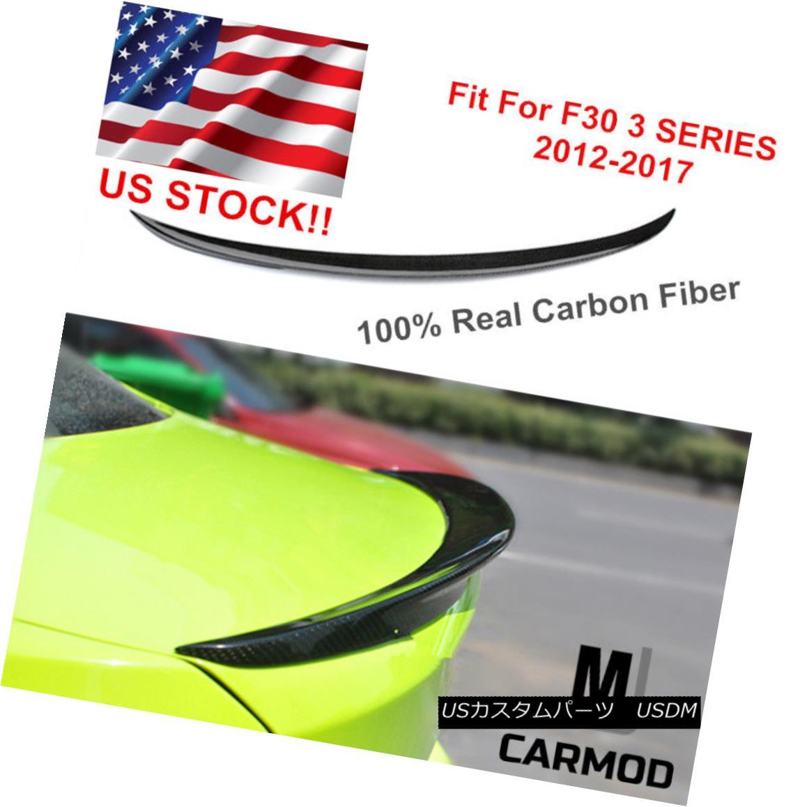 エアロパーツ Carbon Fiber Trunk Lip Wing Spoiler Fit For F30 3-Series 335i 330 & F80 M3 Sedan カーボンファイバートランクリップウイングスポイラーフィットF30 3シリーズ335i 330& F80 M3セダン