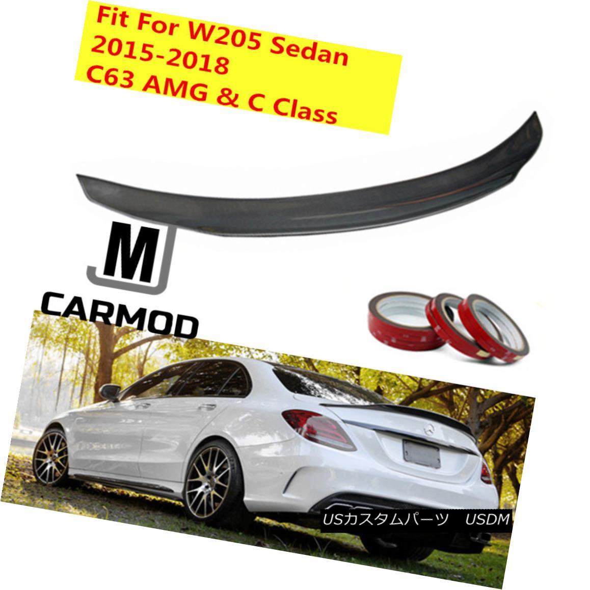 エアロパーツ PSM Style Carbon Fiber Trunk Spoiler Fit For MERCEDES-BENZ W205 C63 AMG C CLASS メルセデスベンツW205 C63 AMG CクラスのPSMスタイルカーボンファイバートランク・スポイラー・フィット