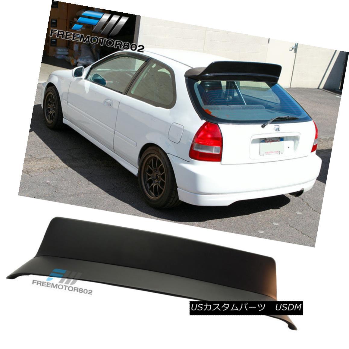 エアロパーツ Fit 96-00 Honda Civic 3 Door ABS BYS Style Rear Roof Spoiler Painted Matte Black フィット96-00ホンダシビック3ドアABS BYSスタイルリアルーフスポイラー塗装マットブラック