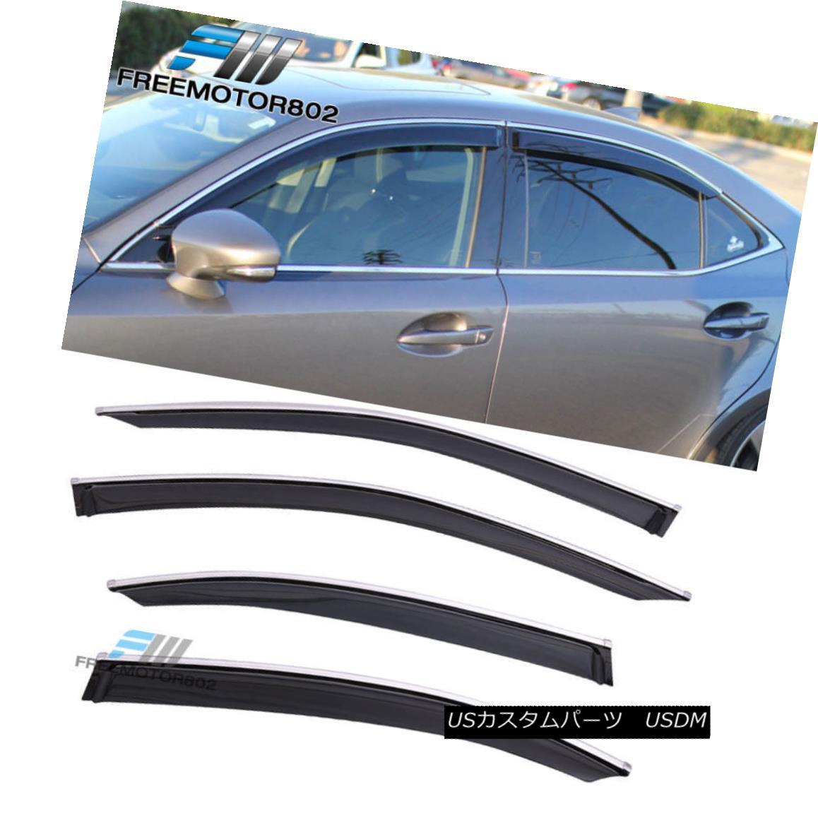 エアロパーツ For 14-16 Lexus IS250 IS350 Window Visor Shade Rain Sun Wind Guard Chrome Trim 14?16レクサスIS250 IS350ウインドバイザーシェードレインサンウインドガードクロームトリム