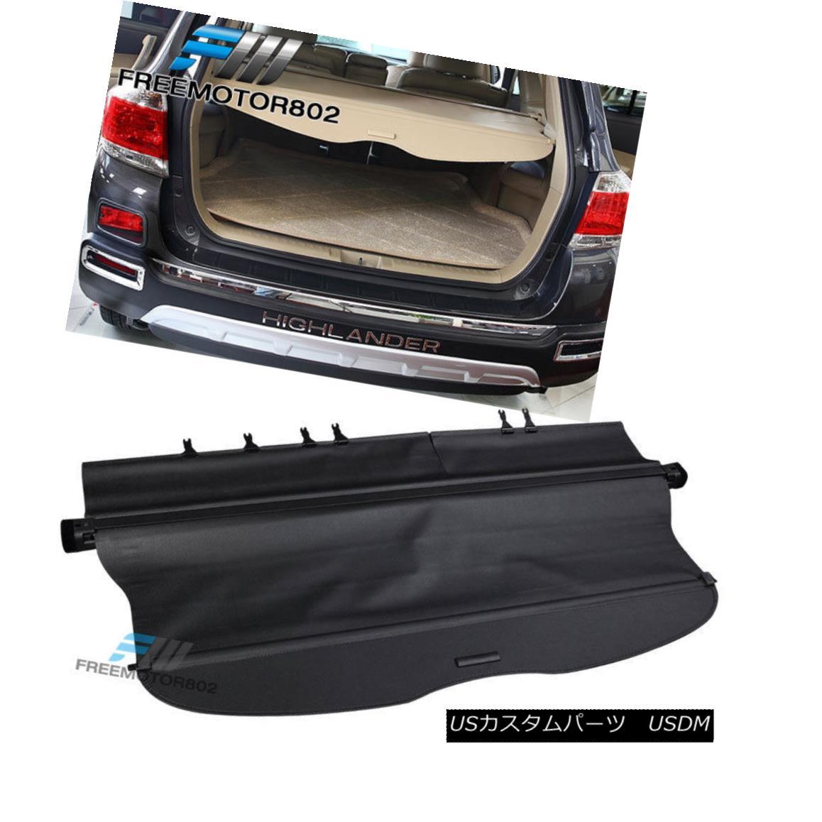 エアロパーツ Fits 08-12 Highlander Rear Retractable Cargo Security Trunk Cover Black OE Style フィット08-12ハイランダーリア格納式貨物セキュリティトランクカバーブラックOEスタイル