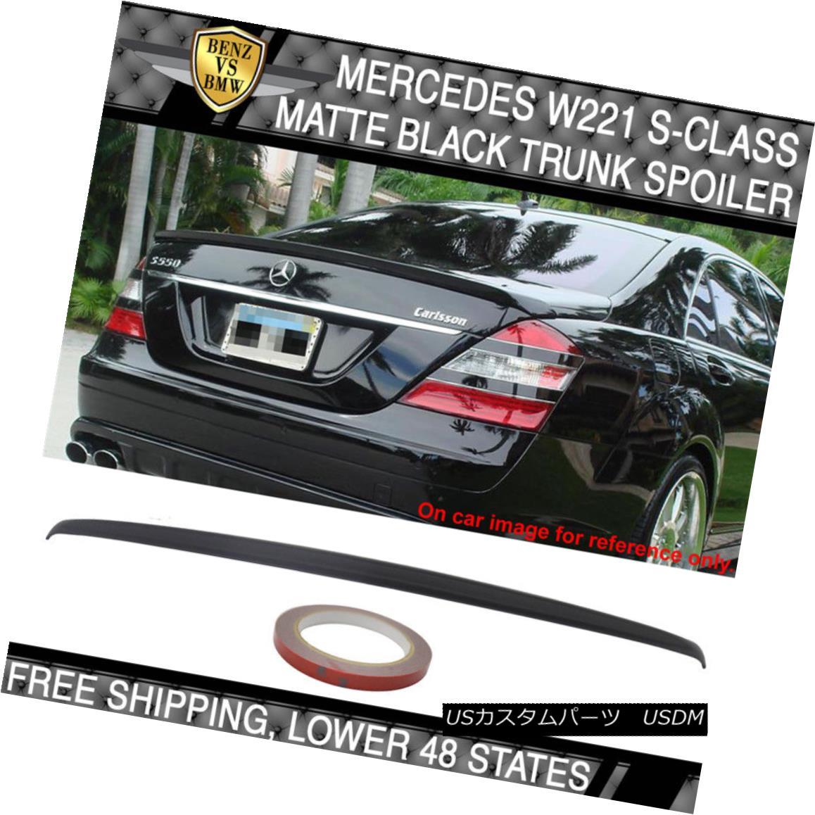 エアロパーツ USA Stock 07-13 Mercedes W221 S-Class Painted Matte Black Trunk Spoiler - ABS USAストック07-13メルセデスW221 Sクラス塗装マットブラックトランクスポイラー - ABS