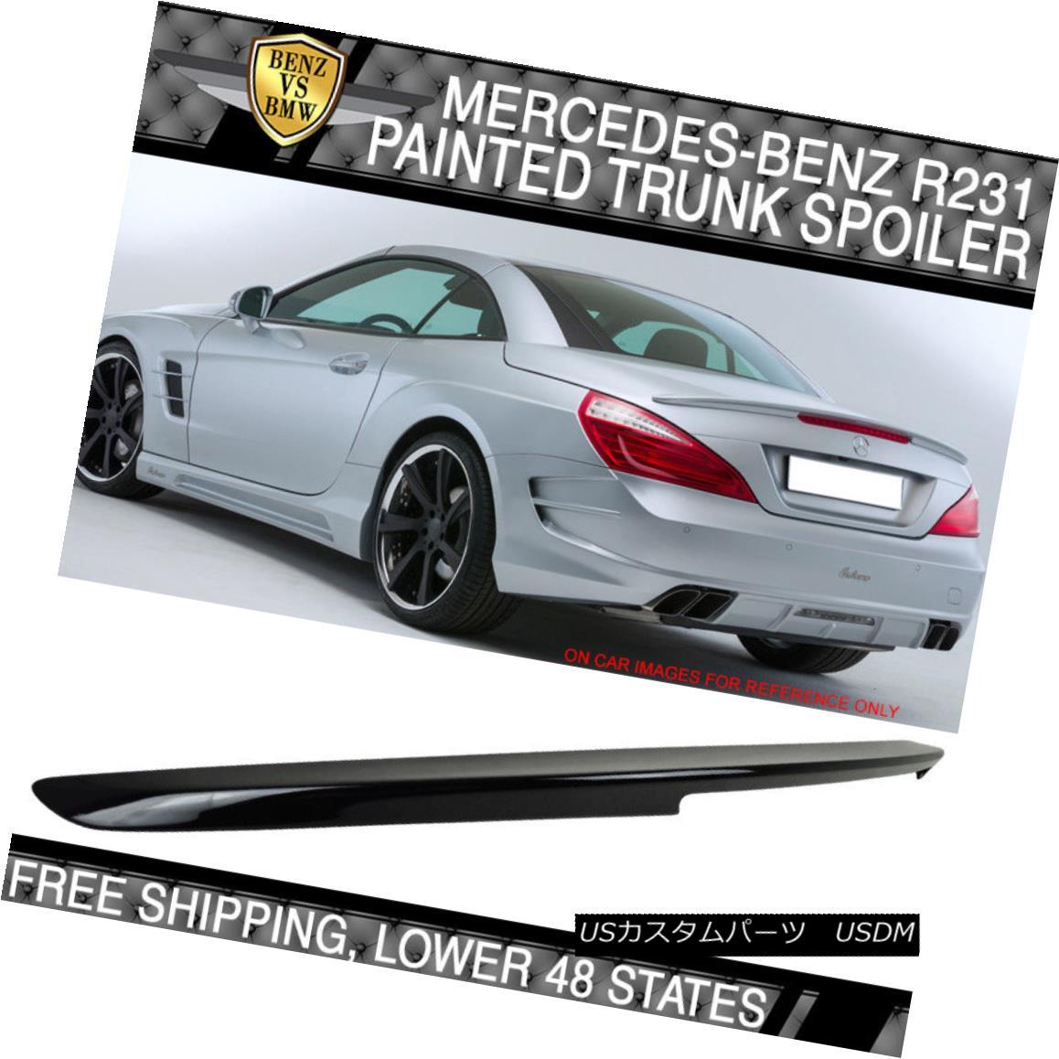 エアロパーツ USA Stock 13-16 Benz R231 2Dr Painted Trunk Spoiler #197 Obsidian Black Metallic アメリカストック13-16ベンツR231 2Dr塗装トランク・スポイラー#197黒曜石黒メタリック