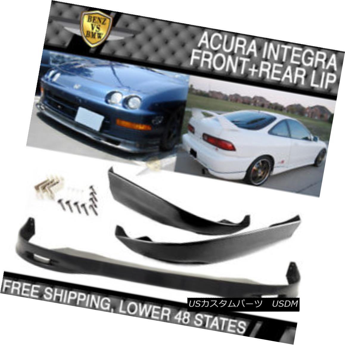 エアロパーツ Black Poly Urethane PU SPOON Front & Rear Bumper Lip Fits 98-01 Acura Integra ブラックポリウレタンPU SPONフロント& リアバンパーリップフィッティング98-01 Acura Integra