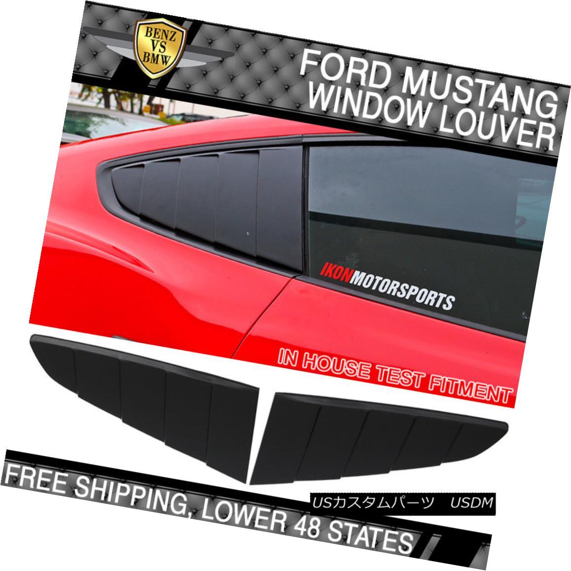 エアロパーツ Fit 15-18 Ford Mustang CV Style Rear Side Window Louvers Scoops Unpainted PP フィット15-18 Ford Mustang CVスタイルリアサイドウィンドウルーバースクープ未塗装PP