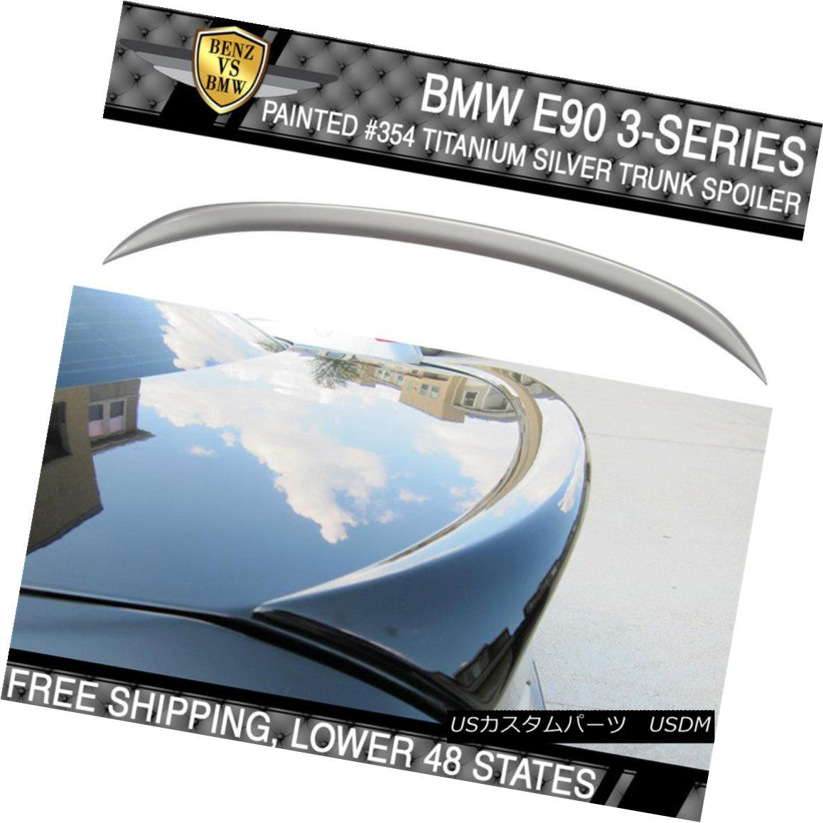 エアロパーツ 06-11 BMW 3 Series E90 OE #354 Titanium Silver Metallic Painted Trunk Spoiler 06-11 BMW 3シリーズE90 OE#354チタンシルバーメタリック塗装トランクスポイラー