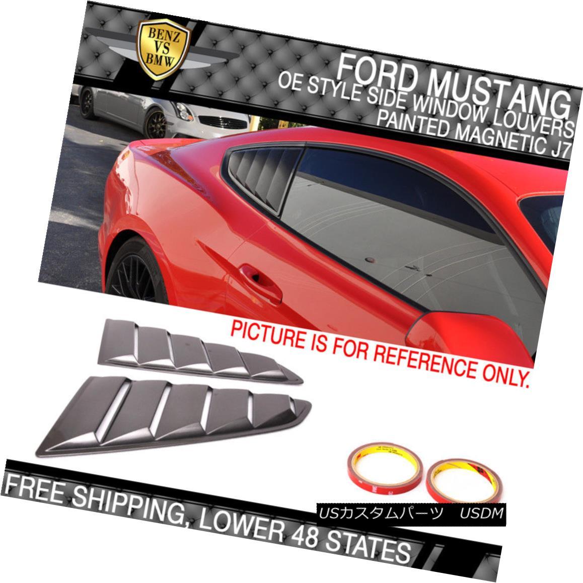エアロパーツ For 15-18 Ford Mustang OE Style Paint J7 Magnetic Side Window Louvers 15-18フォードマスタングOEスタイルペイントJ7磁気サイドウィンドウルーバー