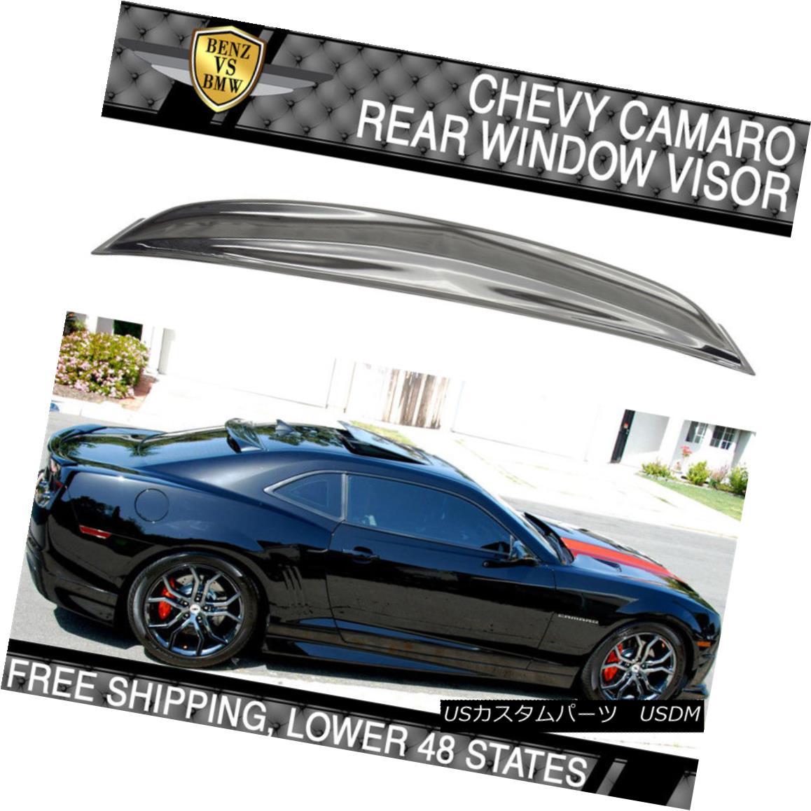 エアロパーツ Fits 10-16 Chevrolet Camaro Rear Roof Window Visor Shade Vent Deflector Spoiler フィット10-16シボレーカマロリアルーフウィンドウバイザーシェードベントデフレクタースポイラー
