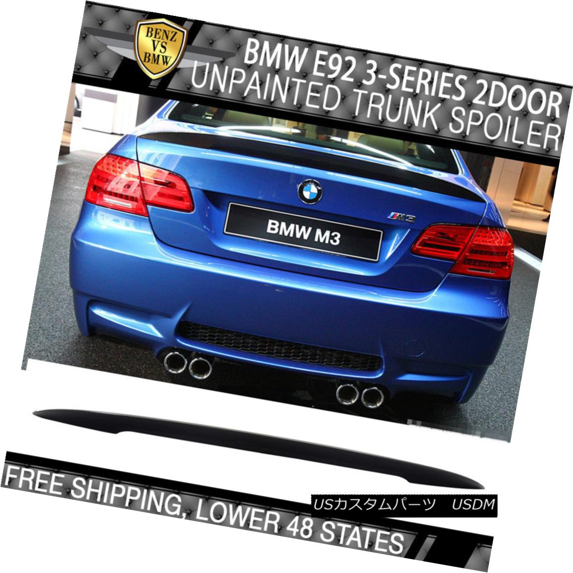 07-13 BMW E92 2Dr Coupe Performance High Kick P Sty Unpainted ABS Trunk Spoiler