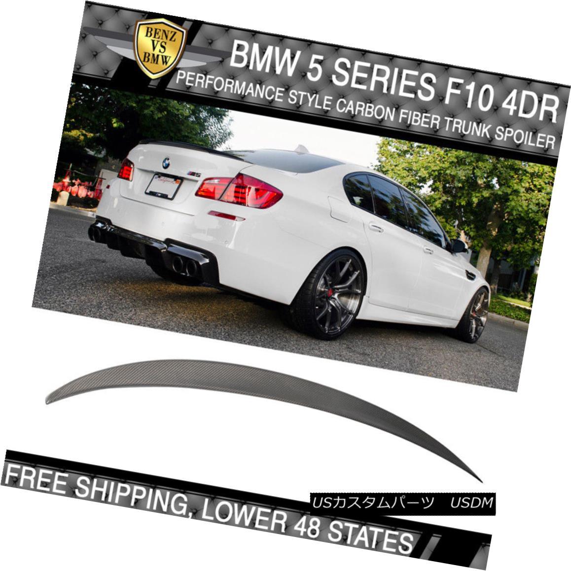 エアロパーツ USA Stock Fit 11-16 F10 Sedan Performance Trunk Spoiler Matte Carbon Fiber (CF) USAストックフィット11-16 F10セダンパフォーマンストランクスポイラーマットカーボンファイバー(CF)