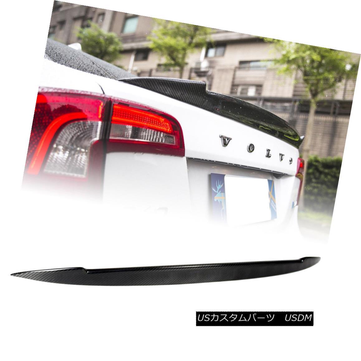 エアロパーツ Real Carbon Fiber V Style Trunk Spoiler For VOLVO S60 T5 T6 Sport 4D Sedan 11-17 VOLVO S60 T5 T6スポーツ4Dセダン11-17用リアルカーボンファイバーVスタイルトランク・スポイラー