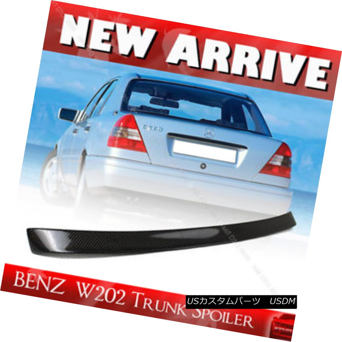 エアロパーツ Carbon Mercedes BENZ C-Class W202 4D Sedan L Style Rear Trunk Spoiler C230 1998 カーボン・メルセデス・ベンツCクラスW202 4DセダンLスタイル・リア・トランク・スポイラーC230 1998
