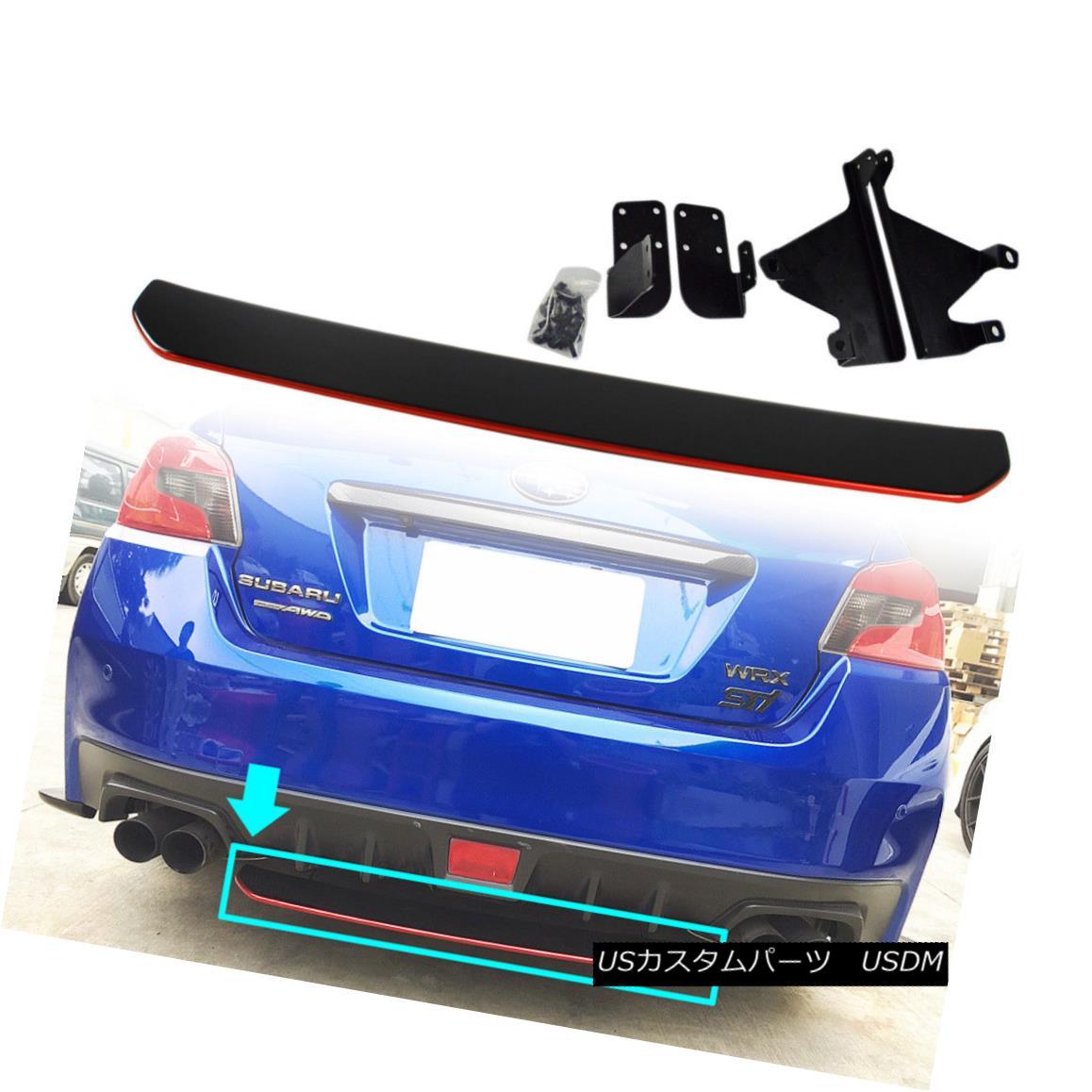 エアロパーツ Paint Black & Red Line For Subaru WRX 2018 Rear Under Lip Spoiler Wing ABS ペイントブラック& レッドラインSubaru WRX 2018リアアンダーリップスポイラーウィングABS