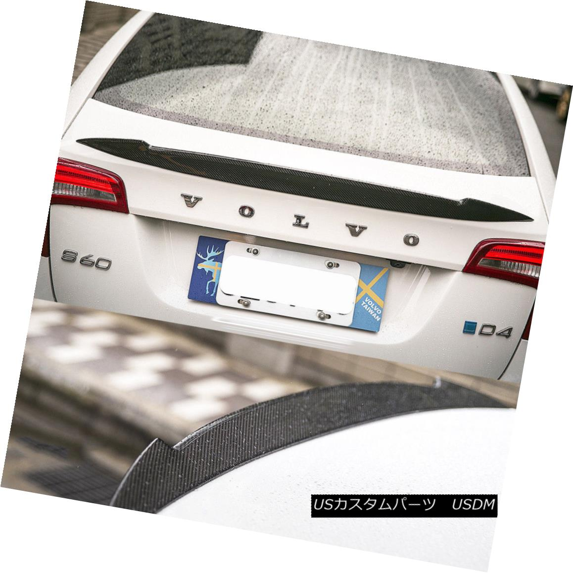 エアロパーツ 2018 Fit VOLVO S60 T5 T6 Sedan V Look Rear Trunk Boot Spoiler Wing Carbon Fiber 2018フィットボルボS60 T5 T6セダンVルックバックトランクブーツスポイラーウイングカーボンファイバー