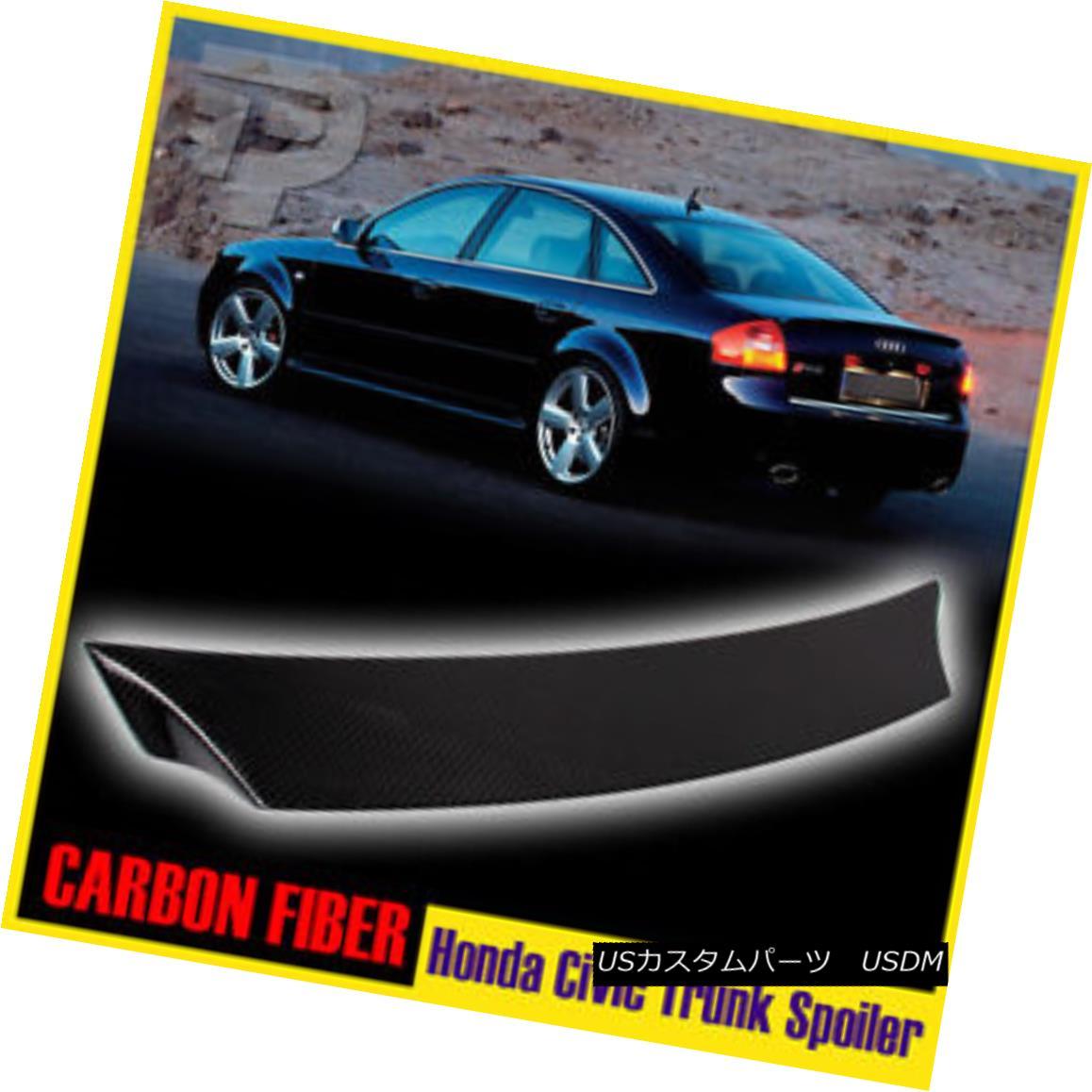 エアロパーツ Carbon Fiber Honda Civic 10th 4D Saloon V-Type Rear Trunk Spoiler Boot LX DX カーボンファイバーホンダシビック第10回4DサルーンV型後部トランク・スポイラー・ブートLX DX