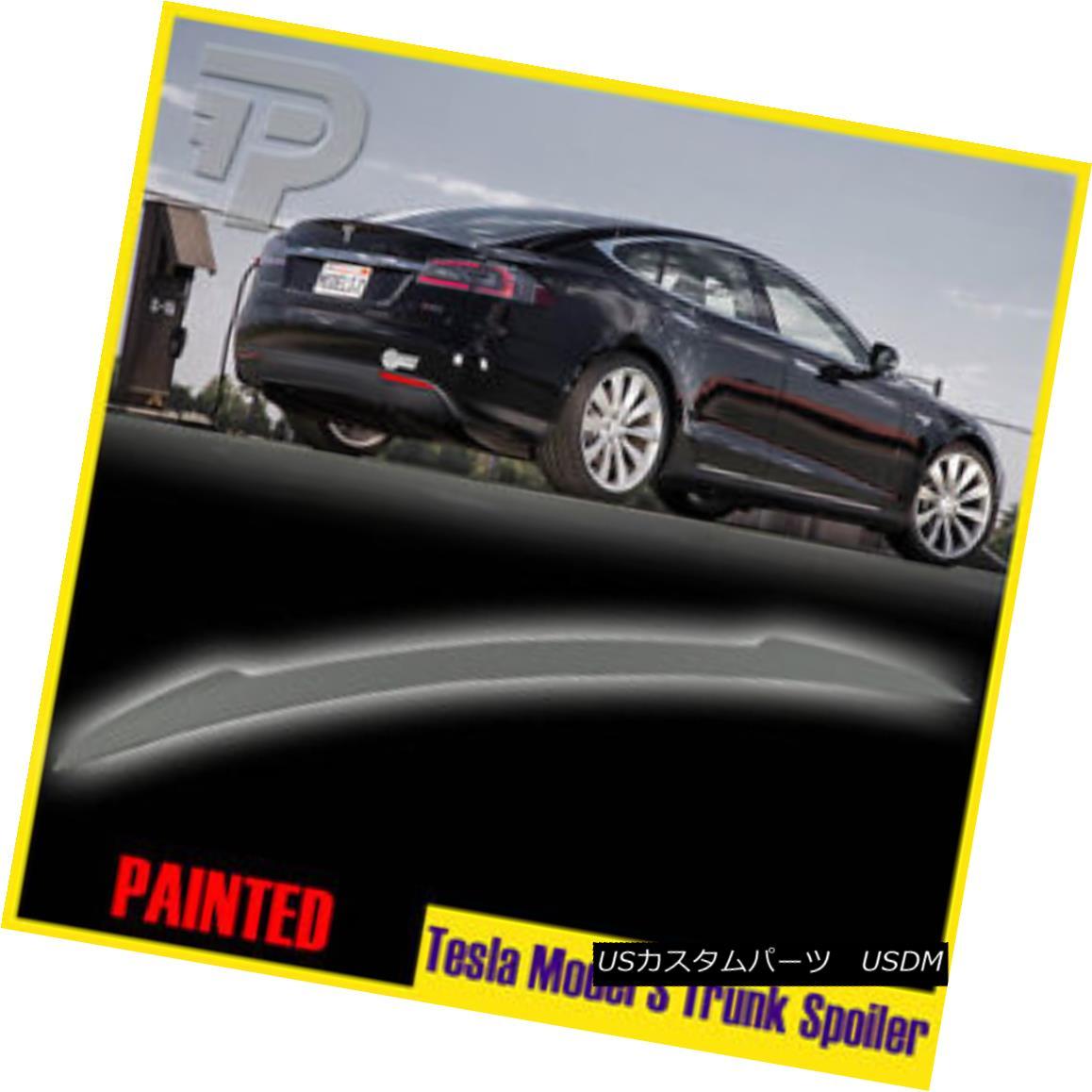 OEM Painted Color Fit 12-18 Tesla Model S 4Dr Sedan Painted Rear Trunk Spoiler