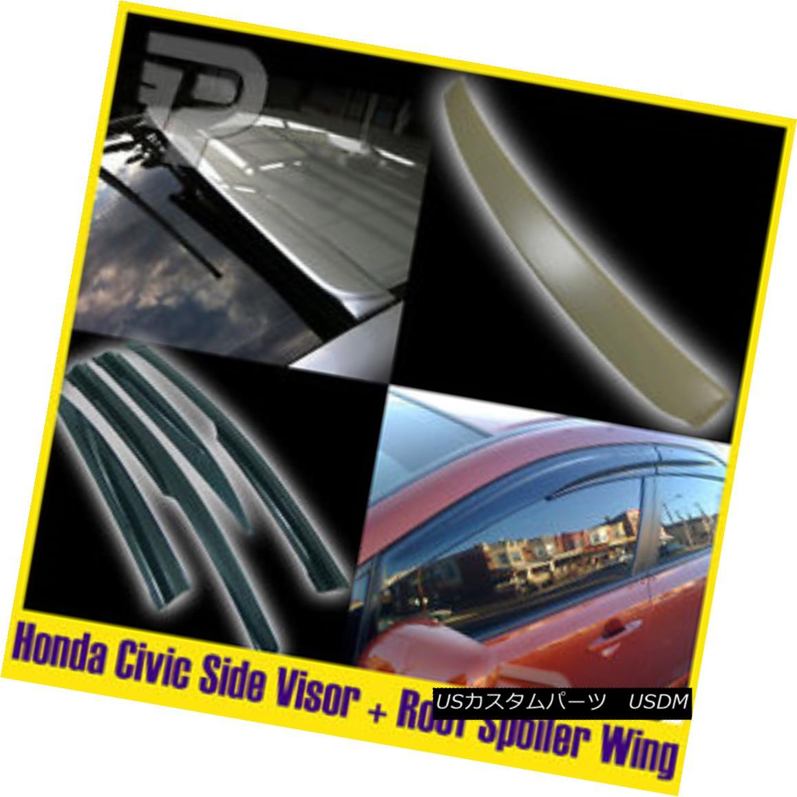 エアロパーツ Unpainted Honda Civic 8th Side Visor and Roof Spoiler Sedan 4DR 06-11 未塗装のホンダシビック8番サイドバイザーとルーフスポイラーセダン4DR 06-11