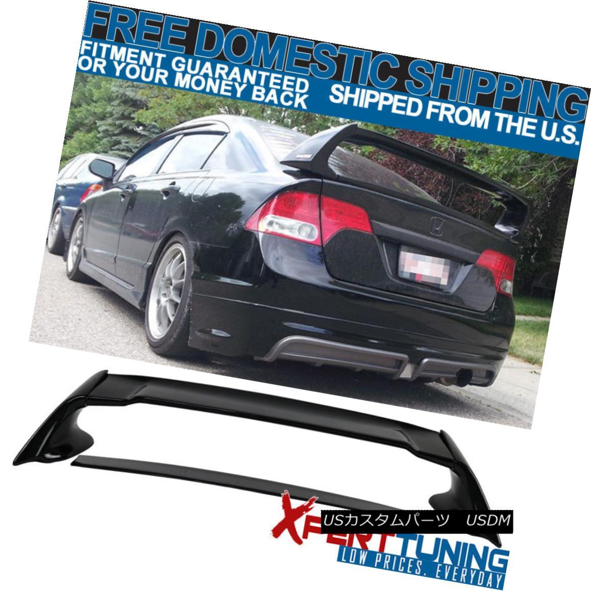 エアロパーツ 06-11 Honda Civic 4Dr Mugen Trunk Spoiler - Painted Glossy Black 06-11 Honda Civic 4Dr Mugenトランク・スポイラー - ペイント・グロッシー・ブラック