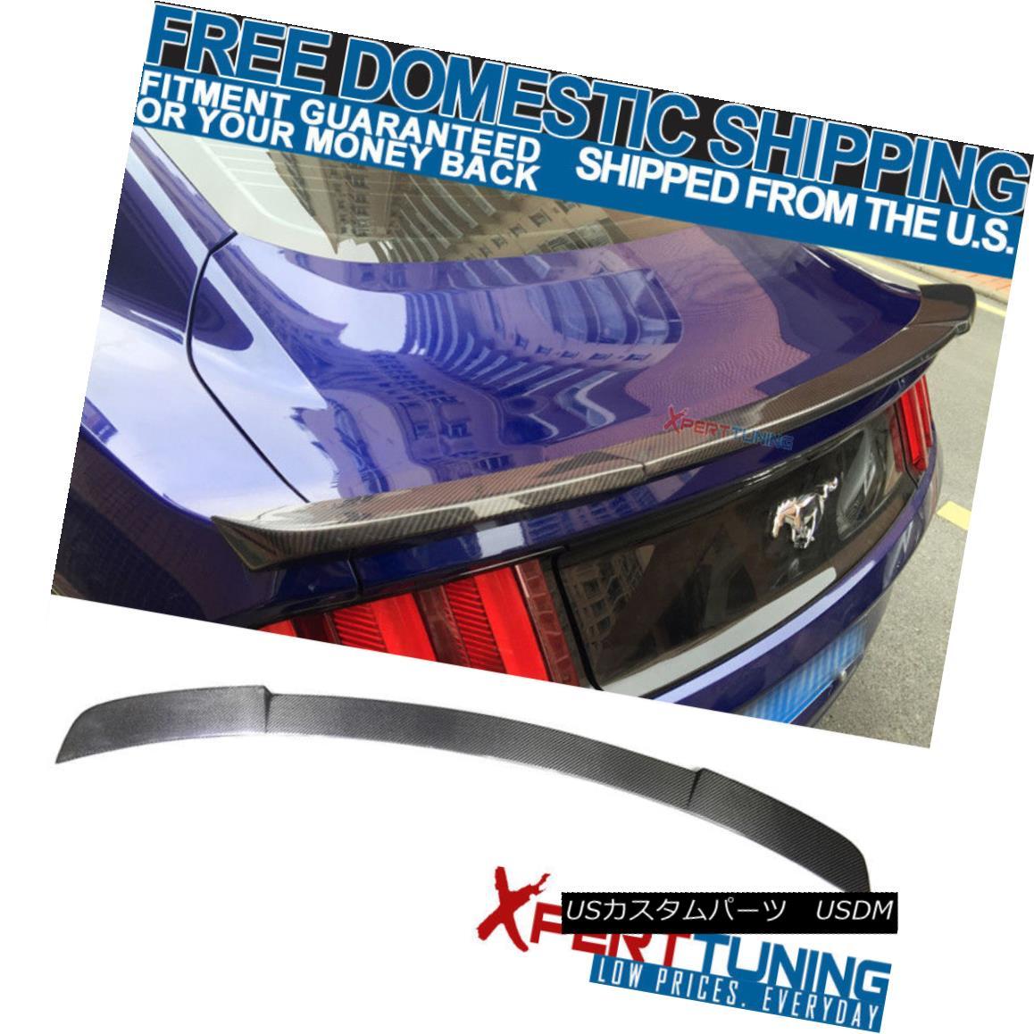 エアロパーツ 15-18 Ford Mustang IK Style Trunk Spoiler - Carbon Fiber 15-18フォードマスタングIKスタイルトランクスポイラー - カーボンファイバー