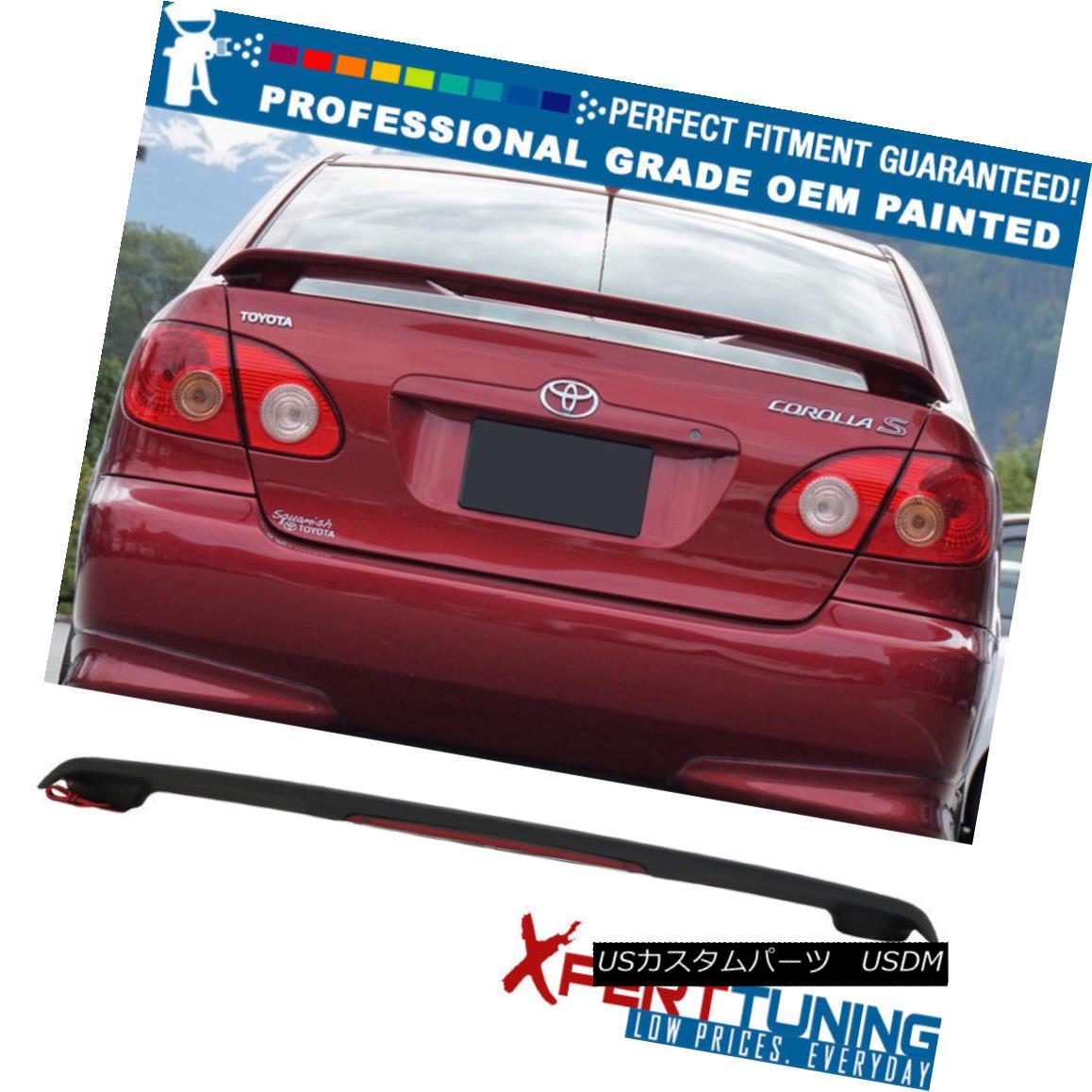 エアロパーツ Fit 03-08 Toyota Corolla Sedan OE Factory Trunk Spoiler & LED -OEM Painted Color フィット03-08トヨタカローラセダンOE工場トランクスポイラー& LEDオムペイントカラー