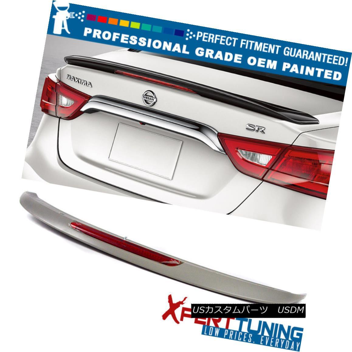 エアロパーツ Fit 16-18 Maxima A36 Painted OE SR Trunk Spoiler LED Brake - OEM Painted Color フィット16-18マキシマA36塗装OE SRトランクスポイラーLEDブレーキ - OEM塗装色