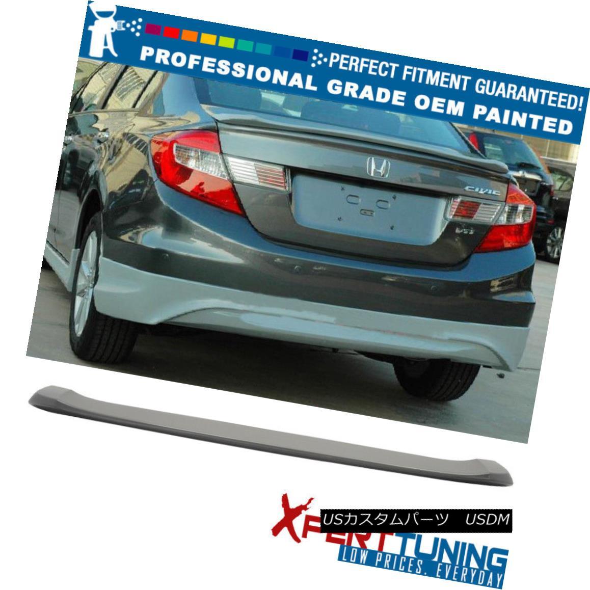 エアロパーツ 12 Civic USDM 9 Gen 4Dr OE Style Painted ABS Trunk Spoiler - OEM Painted Color 12市民USDM 9 Gen 4Dr OEスタイル塗装ABSトランク・スポイラー - OEM塗装色