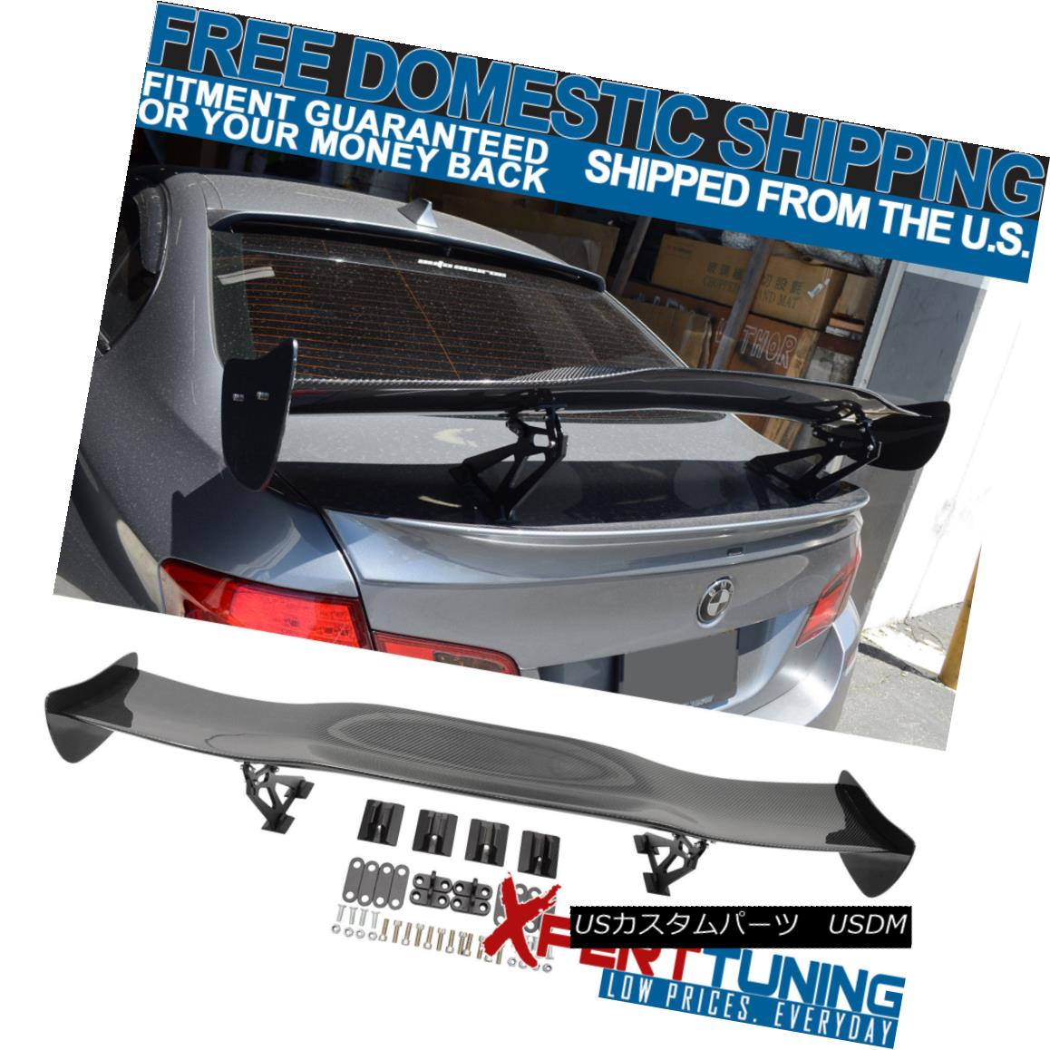 エアロパーツ Adjustable JDM GT Style 57in Black Carbon Fiber CF Rear Wing Trunk Spoiler 調整可能なJDM GTスタイル57inブラックカーボンファイバーCFリアウイングトランク・スポイラー